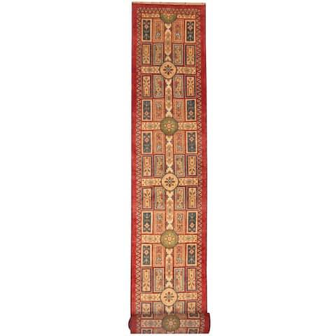Handmade Kazak Wool Runner (India) - 2'6 x 8'