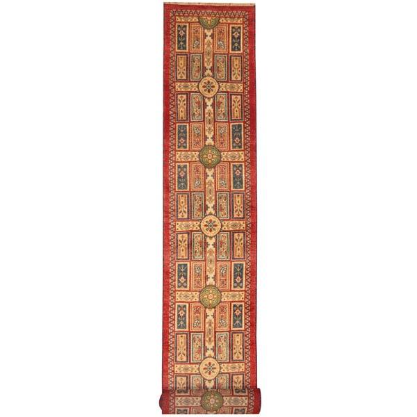Herat Oriental Indo Hand-knotted Tribal Kazak Wool Runner (2'6 x 20')