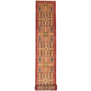 Herat Oriental Indo Hand-knotted Tribal Kazak Red/ Ivory Wool Runner (2'6 x 20')
