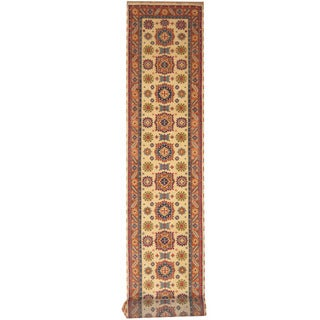 Herat Oriental Indo Hand-knotted Tribal Kazak Ivory/ Rust Wool Runner (2'6 x 20'10)