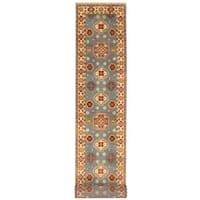 Herat Oriental Indo Hand-knotted Tribal Kazak Light Blue/ Ivory Wool Runner (2'6 x 20') - 2'6 x 20'