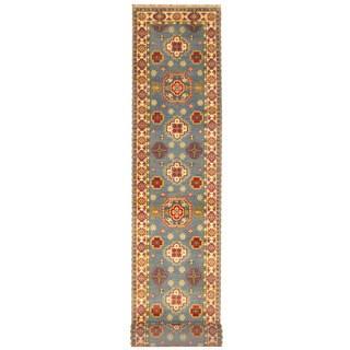 Herat Oriental Indo Hand-knotted Tribal Kazak Light Blue/ Ivory Wool Runner (2'6 x 20')