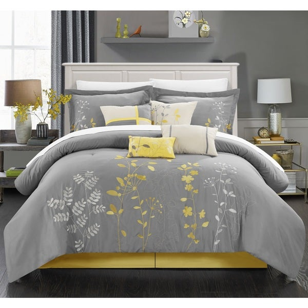 Porch & Den Holly Yellow Embroidered 12-piece Bed in a Bag with Sheet Set