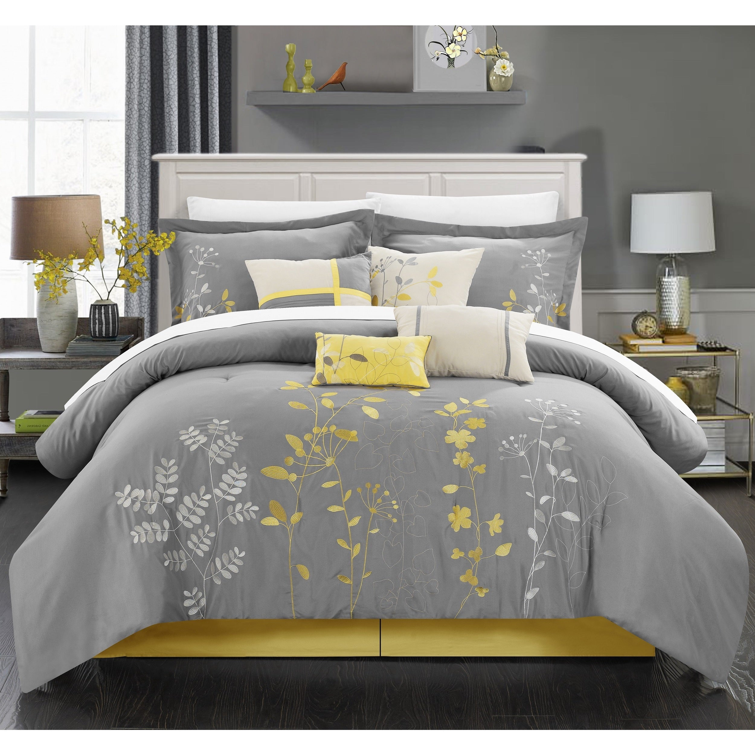 Oliver & James Lorna Yellow Embroidered 12-piece Bed in a Bag with Sheet Set - Thumbnail 0