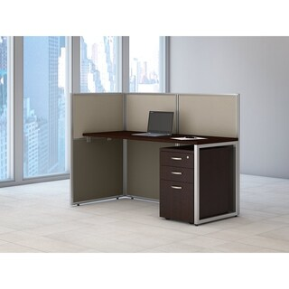 Bush Business Furniture Easy Office Straight Desk Open Office with 3-drawer Mobile Pedestal