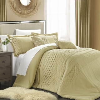 Chic Home 9-piece Corona Champagne Pleated Handmade Technique Comforter Set