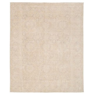 Herat Oriental Afghan Hand-knotted Whitewashed Vegetable Dye Khotan Beige/ Ivory Wool Rug (8' x 9'11