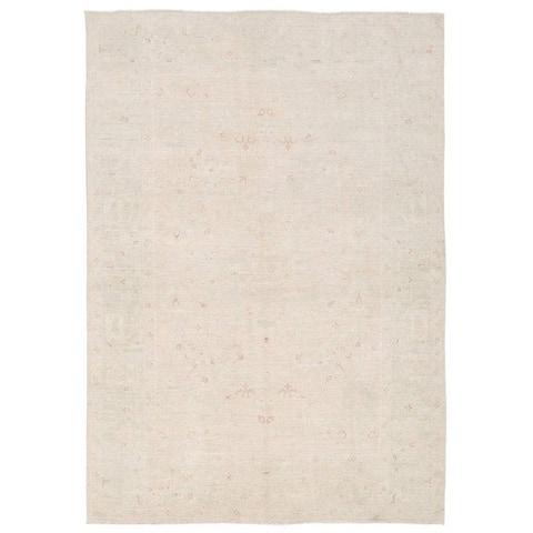 Handmade One-of-a-Kind Whitewash Vegetable Dye Oushak Wool Rug (Afghanistan) - 6'2 x 8'10