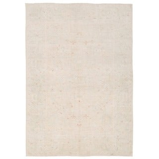 Herat Oriental Afghan Hand-knotted Whitewashed Vegetable Dye Oushak Ivory/ Gray Wool Rug (6'2 x 8'10