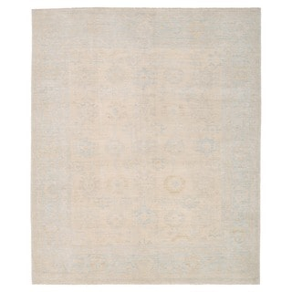 Herat Oriental Afghan Hand-knotted Whitewashed Vegetable Dye Oushak Ivory/ Light Blue Wool Rug (8'4