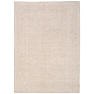 Herat Oriental Afghan Hand-knotted Whitewashed Vegetable Dye Oushak Wool Rug (8'3 x 11')