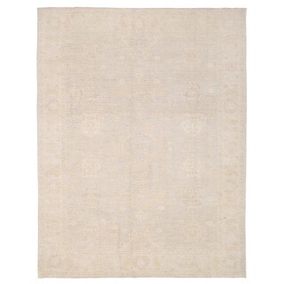 Herat Oriental Afghan Hand-knotted Whitewashed Vegetable Dye Oushak Beige/ Ivory Wool Rug (9' x 11'9