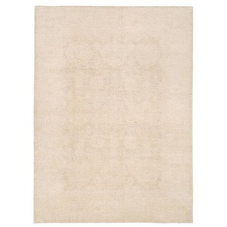 Herat Oriental Afghan Hand-knotted Whitewashed Vegetable Dye Oushak Beige/ Ivory Wool Rug (7'9 x 10'