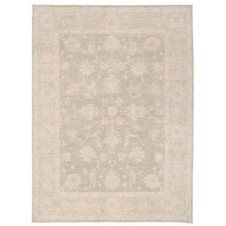 Herat Oriental Afghan Hand-knotted Vegetable Dye Oushak Tan/ Ivory Wool Rug (7'11 x 10'6)
