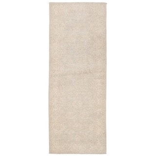 Herat Oriental Afghan Hand-knotted Whitewashed Vegetable Dye Oushak Wool Runner (2'7 x 6'10)