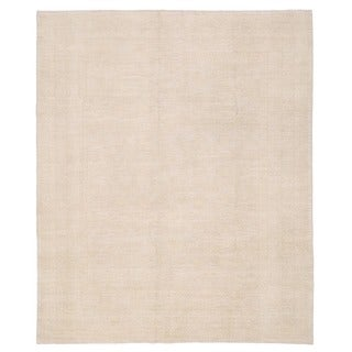Herat Oriental Afghan Hand-knotted Whitewashed Vegetable Dye Oushak Wool Rug (8' x 9'6)