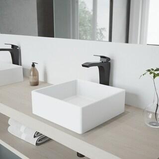 VIGO Dianthus Vessel Bathroom Sink and Blackstonian Faucet Set
