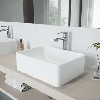 VIGO Caladesi Matte Stone Vessel Sink and Milo Faucet Set in Chrome Finish