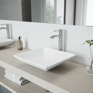 VIGO Hibiscus Matte White Finish Stone Vessel Sink and Brushed Nickel Milo Faucet Set with Pop-up Drain