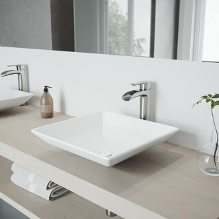 VIGO Hibiscus Matte White Finish Stone Vessel Sink and Brushed Nickel Niko Faucet Set with Pop-up Drain