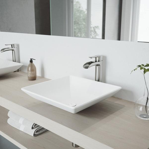 VIGO Hibiscus White Vessel Bathroom Sink Set with Niko Faucet