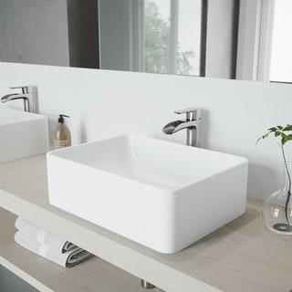 VIGO Caladesi Matte Stone Vessel Sink and Niko Faucet Set in Brushed Nickel Finish