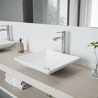 VIGO Matira Matte Stone Vessel Sink and Milo Faucet Set in Brushed Nickel Finish