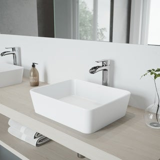 VIGO Marigold Matte White Finish Stone Vessel Sink and Chrome Niko Faucet Set with Pop-up Drain
