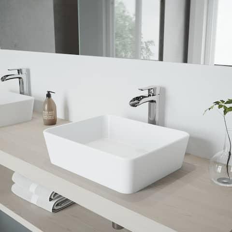 VIGO Marigold White Vessel Bathroom Sink Set with Niko Chrome Faucet