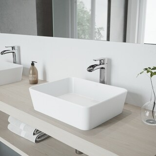 VIGO Sirena Matte Stone Vessel Sink and Chrome Niko Faucet Set with Pop-up Drain in Matching Finish