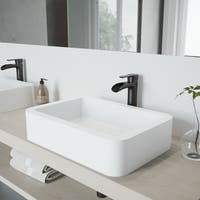 VIGO Petunia Matte Stone Vessel Bathroom Sink and Niko Faucet Set