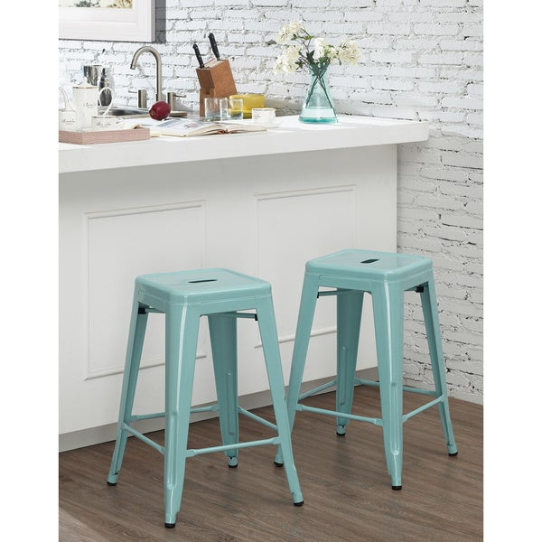 Tabouret 24 Inch Light Blue Counter Stool Set Of 2