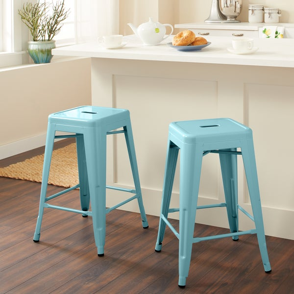 Shop Tabouret 24 Inch Light Blue Counter Stool Set Of 2