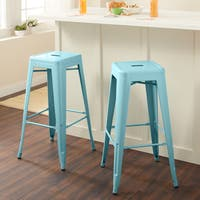 Carbon Loft Fowler 30-inch Light Blue Bar Stool (Set of 2)