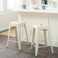 Carbon Loft Tabouret 24-inch Cream Counter Stool (Set of 2)