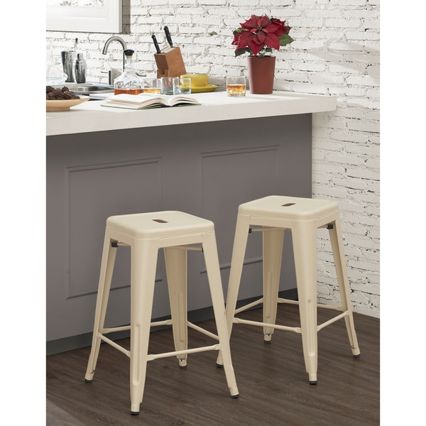 Tabouret 24 Inch Cream Counter Stool Set Of 2 Free