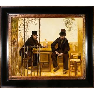 Jean Francois Raffaelli 'The Absinthe Drinkers' Hand-painted Framed Canvas Art