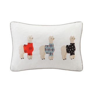 HipStyle Sweater Weather Alpaca Embroidered Cotton Oblong Throw Pillow