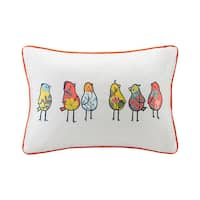 HipStyle Chickas Birds Embroidered Multi-cotton Oblong Throw Pillow