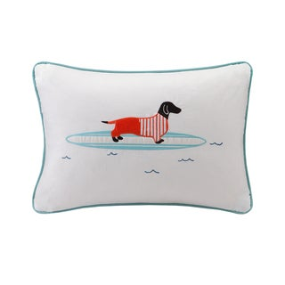 HipStyle Oscar Surfboard Dog Appliqued Cotton Oblong Throw Pillow