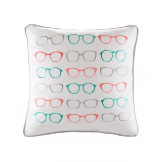 HipStyle Specs Glasses Embroidered Cotton 20x20 Square Throw Pillow