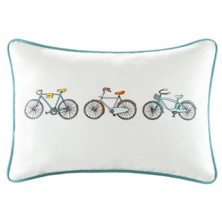 HipStyle Cruz Bicycle Embroidered Cotton Oblong Throw Pillow