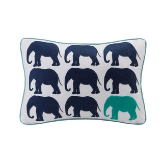 HipStyle Lucky One Elephant Appliqued Cotton Oblong Throw Pillow