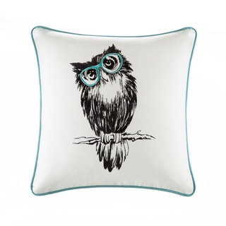 HipStyle Owlfred Owl Embroidered Cotton Square 20 inch Throw Pillow
