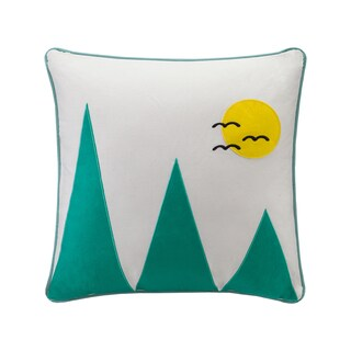 HipStyle Wanderlust Mountain Appliqued Cotton Square 20x20 Throw Pillow