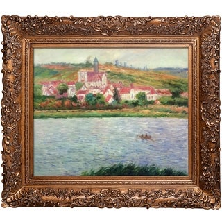 Claude Monet 'Vetheuil, Morning Effect' Hand-painted Framed Canvas Art