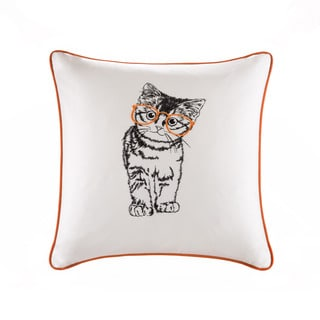 HipStyle Artemis Cat Embroidered Cotton Square 20x20 Pillow