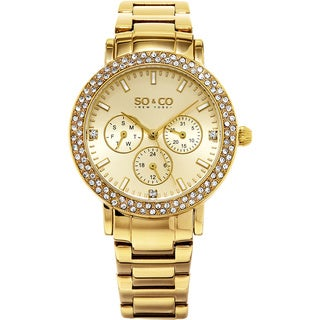 SO&CO New York Women's Madison Quartz Crystal Stainless Steel Bracelet Watch
