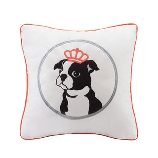 HipStyle Braxton Dog Appliqued Cotton Square 20-inch Throw Pillow