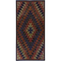 Hand-Crafted Burma Leather/Cotton Area Rug - 2'6 x 8'